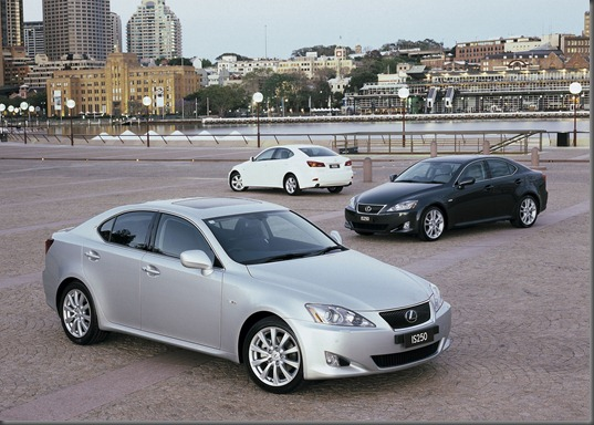 2005 Lexus IS250 Sports Luxury (foreground), IS250 Sports (right) and IS250 (background)