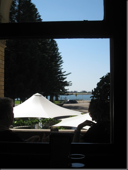 view from the table through to Newcastle Harbour
