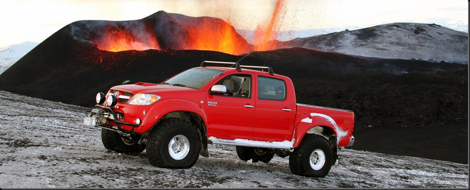 Toyota HiLux drives to the heart of Iceland's Eyjafjallajökull volcano