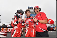 The Zent Cerumo Lexus RC F team celebrate after their win at the Sugo 300 endurance race GAYCARBOYS