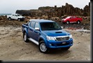 2011 Toyota HiLux 4x4 Double Cab Turbo Diesel: SR5 (front), SR (right) and WorkMate (left).