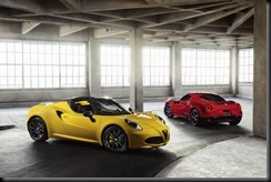 2015 Alfa Romeo 4C Spider (foreground) and 4C Coupe (background)