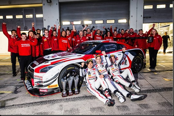 2015 Blancpain Endurance Series PRO Class Driver's Champions - #23 Nissan GT-R NISMO GT3, Nissan GT Academy Team RJN, Katsumasa Chiyo, Wolfgang Reip and Alex Buncombe gaycarboys
