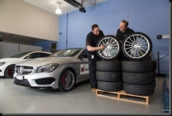 Engineers compare the fake wheel to the genuine wheel.