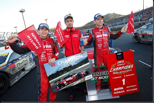 #1 MOTUL AUTECH Nissan GT-R NISMO GT500 of Ronnie Quintarelli and Tsugio Matsuda wins the 2015 GT500 Super GT Championship and #10 GAINER TANAX Nissan GT-R NISMO GT3 of Andre Couto and Katsumasa Chiyo wins 2015 GT300 Super  (4653092)