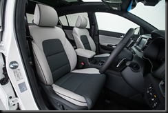 2016 Kia Sportage Platinum grey leather two-toned interior.