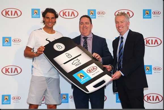 Kia Ambassador Rafael Nadal, Kia Motors Australia COO, Damien Meredith and Tennis Australia CEO, Craig Tiley