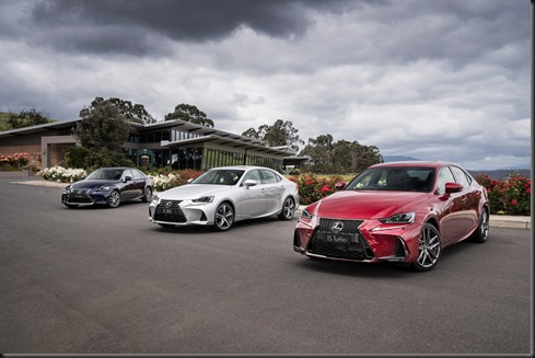 2016 Lexus IS line (r to l) - IS 200t F Sport, IS 350 Sports Luxury and IS 200t Luxury