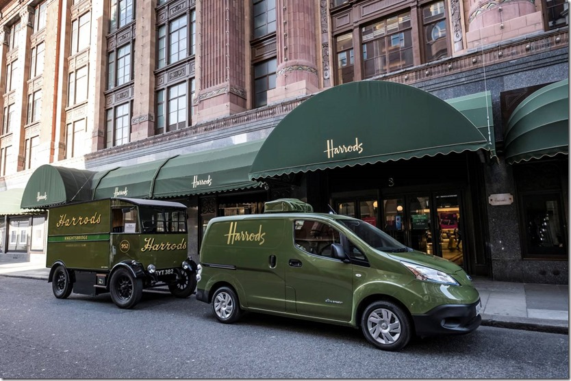 Harrods Delivery Fleet uses an All-Electric Nissane-NV200